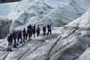 In vier Gruppen besteigen die Gipfelstürmer den Gletscher.