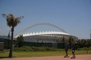 Das Moses-Mabhida-Stadion Durban, in dem schon die deutsche Nationalmannschaft 2010 während der WM spielte.