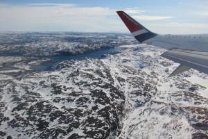 Nach Hause: Beim Abflug von Kirkenes - ein fantastischer Blick über die nordische Landschaft.