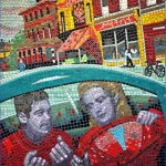 "Das Mosaik zum Hitchcock-Film ""Saboteur"" in der Leytonstone Station. Foto: George Rex, flickr.com, CC BY-SA 2.0"