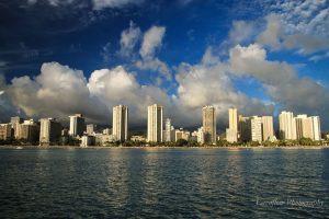 Aussicht Waikiki Skyline vom Sunset Cruise.