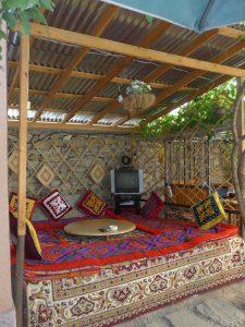Sitzplatz im Lal Hotel Khorogh.