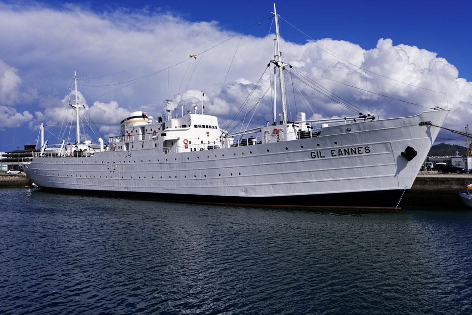 Die Gil Eannes ankert als Museumsschiff im Hafen von Viana do Castelo im Norden Portugals.