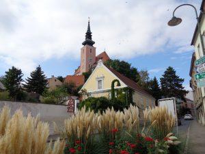 Poysdorf ist die Weinviertler Weinmetropole. Markantestes Bauwerk ist die Stadtpfarrkirche St. Johannes desTäufers. - Foto. Dieter Warnick