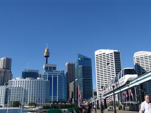 Die Monorail fährt durch Sydney CBD - den Central Business District.