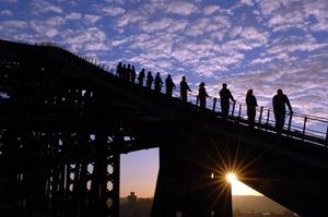 Bridge Climb bei Sonnenaufgang.