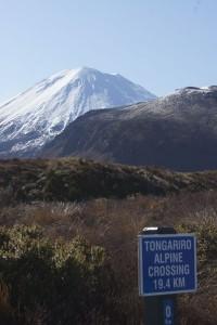 """Knapp 20 Kilometer sind auf der Tongariro Crossing zu bewältigen. Hinten der Mount Ngauruhoe, der Schicksalsberg aus dem Film """"Der Herr der Ringe"""". Foto: Kathrin Schierl"""