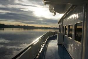 An Bord: Abendstimmung auf der Wolga. Foto: Kathrin Schierl An Bord: Abendstimmung auf der Wolga. Foto: Kathrin Schierl