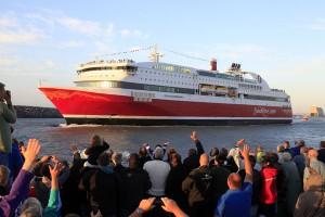 Großer Empfang für MS Stavangerfjord im Hafen von Hirtshals (Dänemark). - Foto: Fjord Line A/S