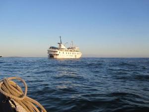 Piratenboote machen nicht mehr Halt auf den Galapagosinseln, dafür das eine oder andere größere Ausflugsschiff.