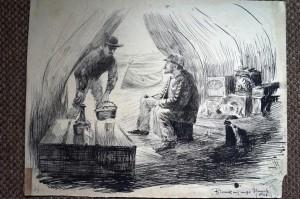 Reisegenosse Blunk - gezeichnet von Alex Eckener.