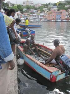 Während nebenan ein Auto geborgen wird, geht der Verkauf der Fische weiter. Schüsselweise erwerben die Einheimischen die Meerestiere.
