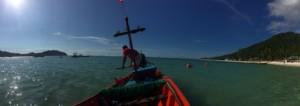 Das Taxi-Boot auf dem Weg zum Bottle Beach.
