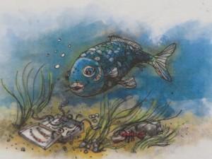 Eine der vielen Original-Zeichnungen zu Otfried Preußlers Kinderbüchern, die in der Ausstellung zusehen sind.