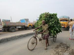 In Dhaka gibt es mehr Autos als früher, aber immer noch sehr viele tradtionelle Fortbewegungsmittel.