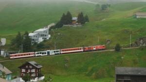 Die Matterhorn-Gotthard-Bahn schiebt sich den Berg hinauf.