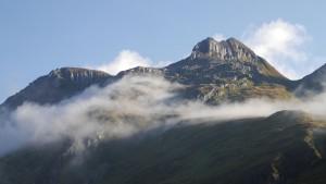 Das Gotthardmassiv am Morgen.