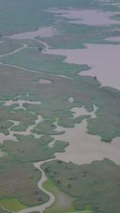 Von oben eröffnen sich die Zusammmenhänge der Wasserwelt von Flevoland.