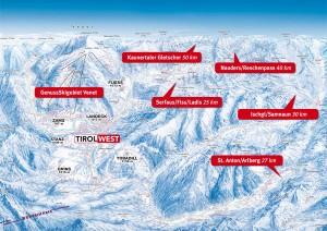 Die Skigebiete der Region sind von TirolWest nur wenige Kilometer entfernt. Grafik: TVB TirolWest
