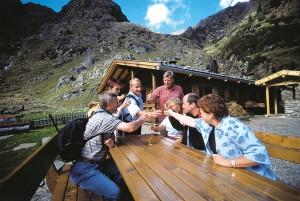 Vor reicher Blumenpracht auf satten Almwiesen wird eine Jause beim Wandern im Almengebiet Ratschings-Jaufen zum besonderen Erlebnis.