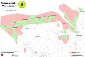 Übersichtskarte des Weltnaturerbes Wattenmeer. - Grafik: Nationalpark Niedersächsisches Wattenmeer