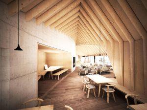 Das neue Bergrestaurant Oberholz überzeugt mit viel Holz und Glas, modernem Design, hohen Decken, ungewöhnlicher Architektur und ungehinderten Blicken auf die Dolomiten. – Foto: Obereggen AG