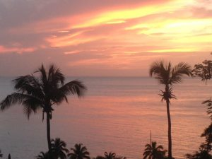 Sonnenuntergang am Strand - mit Konzert der Blackbirds.