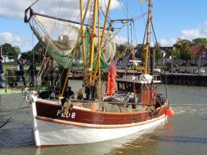 """Boarding"""": Die """"FED8"""" steht im Kutterhafen von Fedderwardersiel bereit zur Abfahrt. - Foto: Dieter Warnick"""
