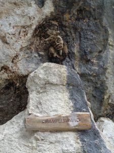 An der sogenannten Krampuswand im Kaisergebirge schaut eine Furcht erregende Schreckgestalt auf die Wanderer herab. - Foto: Dieter Warnick