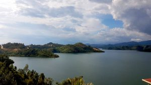 Der Ausblick vom Restaurant der Pension Home Saint Jean auf den Kivu-See