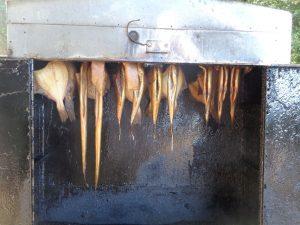 Geräucherte Aale oder Schillerlocken (das sind enthäutete, geräucherte Bauchlappen des Dornhais) – eine Delikatesse. Hier noch in der Räucherkammer, warten sie auf baldigen Verzehr. - Foto: Dieter Warnick