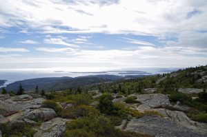 Blick vom Cadillac Mountain über die Küste des Acadia National Parks.