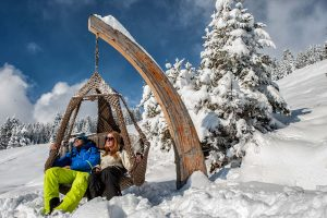 Winter-Entspannung im Hängekorb. - Foto: Andreas Kirschner | Tirol Werbung