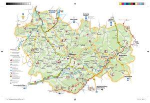 """Die Tourismusdestination, die unter der Werbeoffensive """"Schmallenberger Sauerland und Ferienregion Eslohe"""" firmiert, gehört zum Hochsauerlandkreis und damit zum Südosten Nordrhein-Westfalens. Im Süden wird das Gebiet vom Rothaargebirge abgegrenzt. - Grafik: Schmallenberger Sauerland Tourismus"""
