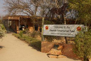 Eingang zum Cheetah Conservation Fund, eine Gepardenfarm und Forschungseinrichtung, etwa 40 km von Otjiwarongo entfernt.