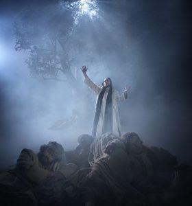 """Gebet am Ölbaum: Jesus verließ die Stadt und ging, wie er es gewohnt war, zum Ölberg; seine Jünger folgten ihm. Als er dort war, sagte er zu ihnen: """"Betet darum, dass ihr nicht in Versuchung geratet"""". – Foto: Passionsspiele Oberammergau 2020"""
