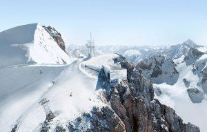 """Gipfel der Zukunft – die Stararchitekten Herzog & de Meuron haben sich bei ihrem Projekt """"Titlis 3020"""" den gleichnamigen Gletscher oberhalb von Engelberg/Zentralschweiz vorgenommen. – Foto: Bildnachweis: Herzog & de Meuron"""
