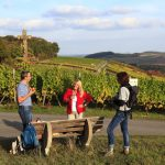 Weinprobe inmitten der Weinberge. – Foto: Tourismusverband Liebliches Taubertal / Peter Frischmuth