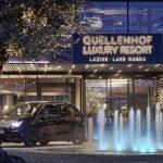 Das Quellenhof Luxury Resort Lazise - Eingang mit Brunnen. Foto: Alexander Haiden