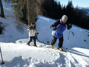 Eine gewisse Grundkondition sollte beim Schneeschuhwandern schon vorhanden sein. – Foto: Obkircher