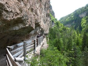 Direkt am Felsen schlängeln sich zahlreiche Wege entlang. Schwindelfrei sollte man trotz Absperrzaun schon sein. – Foto: Birgit Weichmann