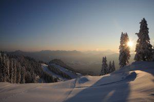 Abendstimmung am Brauneck. – Foto: Tourismus Lenggries / Hubert Walther